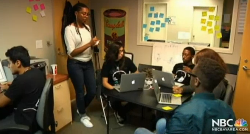 Youth Radio Interactive department featured on local news. Photo courtesy of Youth Radio.